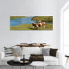 Cows in an Alpine meadow Jungfrau region, Switzerland panoramic canvas wall art
