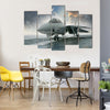 A Net Fighter Jet Beneath The Dramatic Clouds Aircraft Multi Panel Canvas Wall Art
