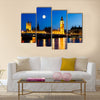 Full Moon above Big Ben and House of Parliament, London, United Kingdom multi panel canvas wall art