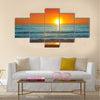 Colorful sunset over the sea -Spain, Almeria Multi Panel Canvas Wall Art