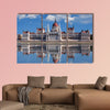 Hungarian parliament with reflection in Danube River multi panel canvas wall art