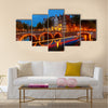 Canals in Amsterdam at night Multi panel canvas wall art