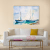 Ships in the sea, watercolor painting Multi Panel Canvas Wall Art