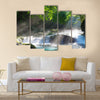 Mountain stream and shaft beam of light Multi Panel Canvas Wall Art