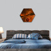 planet near a Nebula with new star formations hexagonal canvas wall art