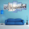 A Frosty And Sunny Day Is In Mountains Multi Panel Canvas Wall Art