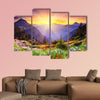Majestic sunset in the mountains landscape multi panel canvas wall art