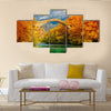 Overcast landscape of Konitsa Bridge and Aoos River, Greece Multi Panel Canvas Wall Art