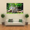 Two Rabbits Bunny In The Garden Multi Panel Canvas Wall Art