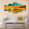 Original oil painting of boat and jetty(pier) on canvas Multi Panel Canvas Wall Art