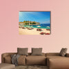 Canvas chairs on the beach multi panel canvas wall art