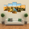Umm al-Ma Lake - Idyllic Oasis In The Awbari Sand Sea, Sahara Desert, Libya, Multi Panel Canvas Wall Art