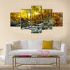 Autumn creek woods with yellow trees foliage and rocks in forest mountain Multi Panel Canvas Wall Art