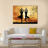 Couple doing yoga Multi panel canvas wall art
