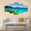 Scene Of A Tropical Island At Carribean Water And Lush Green In Columbia, Multi Panel Canvas Wall Art