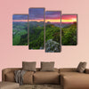 Green forest mountain at sunset with sun Multi panel canvas wall art