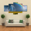 A Thunderstorm With Rainbow And Rain In A Wheat Field, Multi Panel Canvas Wall Art