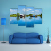 Floating House and Houseboat on the Tonle Sap Lake, multi panel canvas wall art