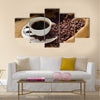Coffee cup and coffee beans Multi Panel Canvas Wall Art