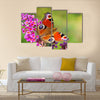 Summer Lilac with European peacock Multi Panel Canvas Wall Art