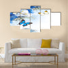 Flowers and butterfly, blue hydrangeas and white irises Multi Panel Canvas Wall Art