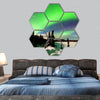 polar lights forming green arc over snowy winter landscape hexagonal canvas wall art