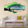 Spectacular display of intense Northern Lights or Aurora snowy winter landscape Multi panel canvas wall art