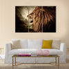 Roaring lion against stormy sky Multi panel canvas wall art