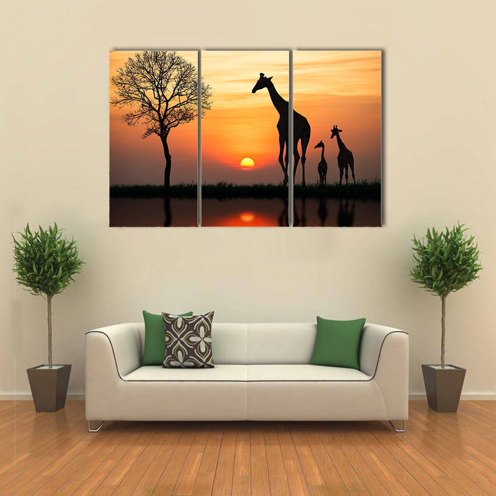 Silhouette Of Giraffe With Reflection In Water Multi Panel Canvas Wall Art