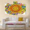 Clock Illustration of Zodiac Signs Multi Panel Canvas Wall Art