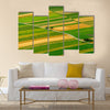 Green fields aerial view before harvest at summer Multi panel canvas wall art