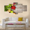 Fresh farmers market fruit and vegetable from above with copy space Multi panel canvas wall art