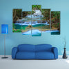 Deep forest Waterfall in Kanchanaburi, Thailand multi panel canvas wall art