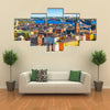 Beautiful Scenic summer aerial panorama of the Old Town Gamla Stan in Stockholm, Sweden Multi Panel Canvas Wall Art