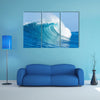 A Fully Pressured Blue Ocean Wave, Multi Panel Canvas Wall Art