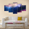 100 Vector Blue Beautiful Glowing Galaxy with Stars Multi Panel Canvas Wall Art