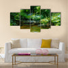 Rivulet in thick forest, oil painting sketch Multi Panel Canvas Wall Art