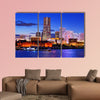 Skyline of Yokohama, Japan at Minato-mirai bay multi panel canvas wall art