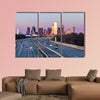 Dallas downtown skyline in the evening multi panel canvas wall art