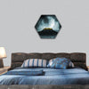 Fantasy stronghold on a hill with full moon hexagonal canvas wall art