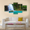 Waterfall in the forest Multi Panel Canvas Wall Art