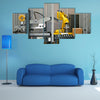 Packaging line with robotic arm at work multi panel canvas wall art