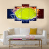 Tennis ball in fire flames and splashing water Multi panel canvas wall art