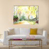Road, fence and trees in autumn Picture painted with watercolor Multi Panel Canvas Wall Art