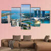 Fish-eye view of Singapore city skyline at sunset multi panel canvas wall art