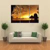 A Beach With Nobody There At Sunset Multi Panel Canvas Wall Art