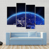 Europe city lights at night Multi Panel Canvas Wall Art