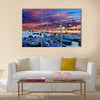 Blue fishing boats on an ocean coast in Essaouira Morocco Multi Panel Canvas Wall Art