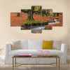 The falling leaves colors the autumn season in the forest Multi Panel Canvas Wall Art
