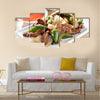 Chinese food Pepper beef at restaurant Multi Panel Canvas Wall Art